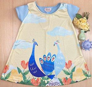 Vestido Infantil Menina e o Pavão - Pokótinha