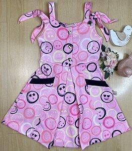 Vestido Infantil Menina Emojis - Kiki Xodó