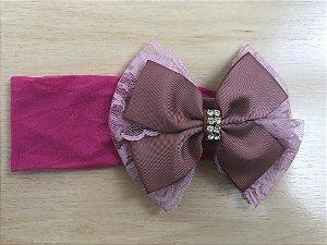 Faixa Laço 11 cm, renda e cetim, rosê