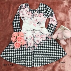 Vestido Infantil, Pied de Poule Flores - Kiki Xodó