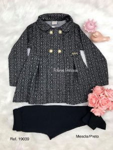 Conjunto Infantil Menina, Casaco Mosaico e Calça - AleKids