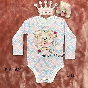 Body Infantil Inverno Menina, Urso Pompom - Kiki Xodó