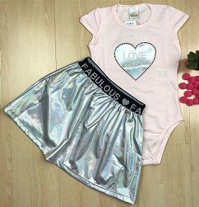 Conjunto Infantil Love Prata - AleKids