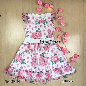 Vestido Verão Infantil Flores e Tule - AleKids