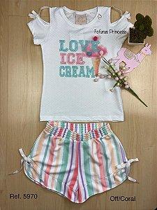 Conjunto Infantil Verão Love Ice - Kiki Xodó