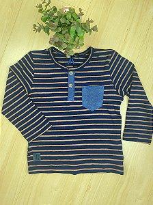 Camiseta Infantil Menino Listras Jeans - Luc.Boo