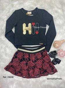 Conjunto Infantil Menina Rosas Vermelhas - Kukiê