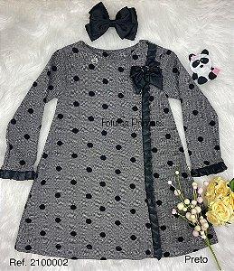 Vestido Infantil Menina Lacinhos Poá - Kiki Xodó