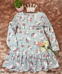 Vestido Infantil Menina Rosas - Kiki Xodó