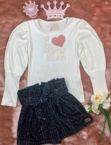 Conjunto Infantil Menina Love Coração - Kiki Xodó