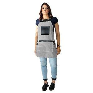 Avental em Sarja cinza modelo Avodah feminino