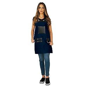 Avental em Sarja azul modelo Churrasqueiro feminino