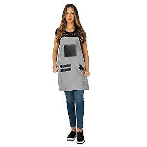 Avental em Sarja cinza modelo Churrasqueiro feminino