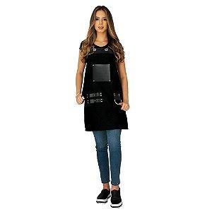 Avental em Sarja preto modelo Churrasqueiro feminino