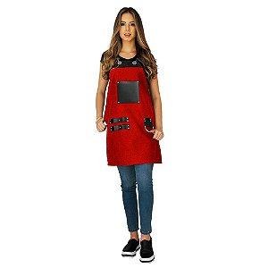 Avental em Sarja vermelho modelo Churrasqueiro feminino