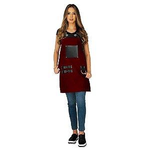 Avental em Sarja vinho modelo Churrasqueiro feminino
