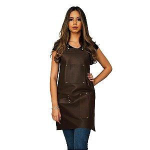 Avental todo em couro modelo churrasqueira feminino