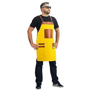 Avental em sarja modelo churrasqueiro amarelo