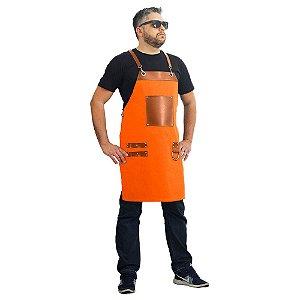 Avental em sarja modelo churrasqueiro laranja