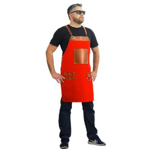 Avental em sarja modelo churrasqueiro vermelho