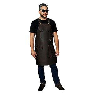 Avental em couro modelo churrasqueiro