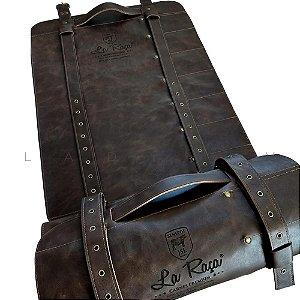 Case para facas em couro com 7 compartimentos