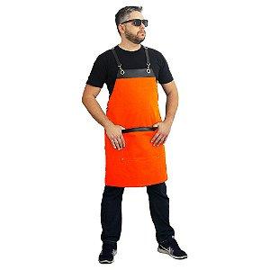 avental em sarja modelo onza laranja