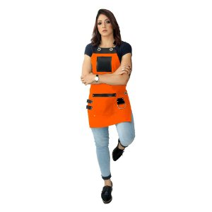 Avental em Sarja laranja modelo King feminino