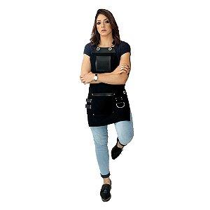Avental em Sarja preto modelo King feminino