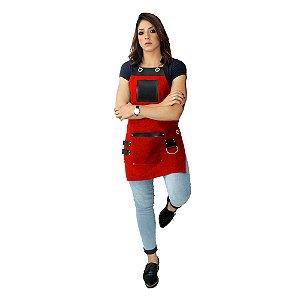 Avental em Sarja vermelho modelo King feminino