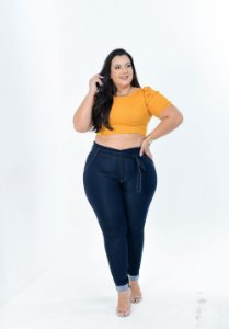 Calça Jeans Potencial Plus Size Clochard Lucinelma Azul