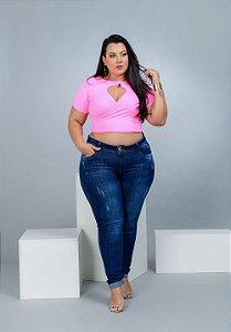 Calça Jeans Xtra Charmy Plus Size Skinny Jocilma Azul