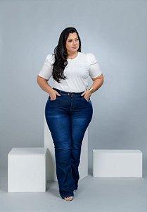 Calça Jeans Xtra Charmy Plus Size Flare Alzineide Azul