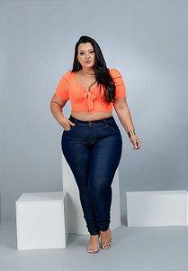 Calça Jeans Xtra Charmy Plus Size Skinny Willena Azul