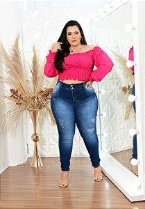 Calça Jeans Latitude Plus Size Skinny Frediana Azul