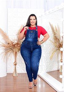 Macacão Jeans Latitude Plus Size Kleryssa Azul