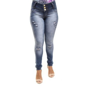 Calça Jeans Feminina Rasgadinha Escura Credencial Levanta Bumbum