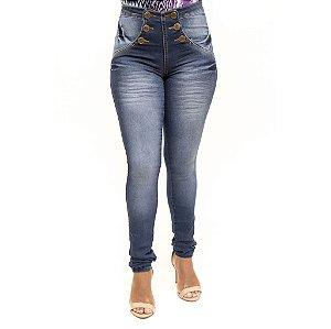 Calça Jeans Feminina Cintura Alta Hot Pants Legging Helix Levanta Bumbum