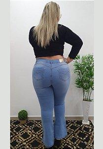 Calça Jeans Latitude Plus Size Flare Auren Azul