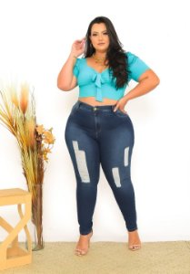Calça Jeans Ane Plus Size Skinny Natanielle Azul