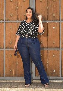 Calça Jeans Ane Plus Size Flare Mazilde Azul
