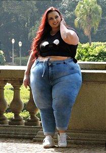 Calça Jeans Ane Plus Size Capri Angela Azul
