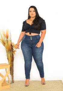 Calça Jeans Ane Plus Size Skinny Lueli Azul