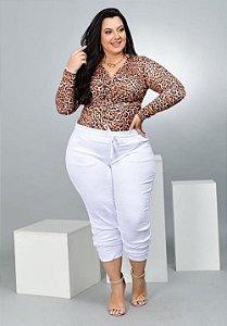 Calça Jeans Leleh Plus Size Jogger Dellana Branca