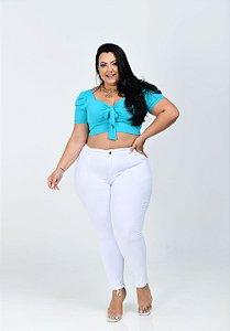 Calça Jeans Ane Plus Size Cigarrete Dhyana Branca