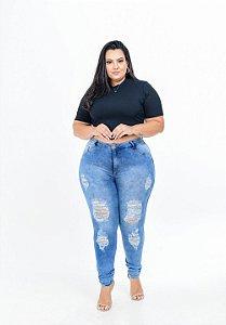 Calça Jeans Potencial Plus Size Skinny Kerlen Azul