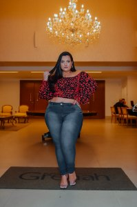 Calça Jeans NForce Plus Size Skinny Helaize Azul