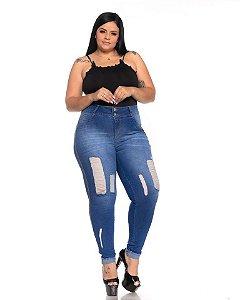 Calça Jeans Latitude Plus Size Skinny Laluska Azul