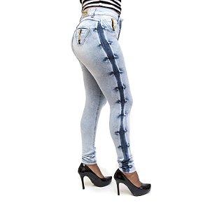 Calça Jeans Manchada Feminina Cheris com Lycra Cintura Alta