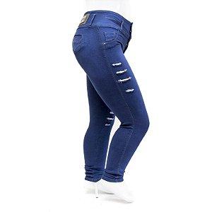 Calça Jeans Plus Size Rasgadinha Feminina Azul Helix